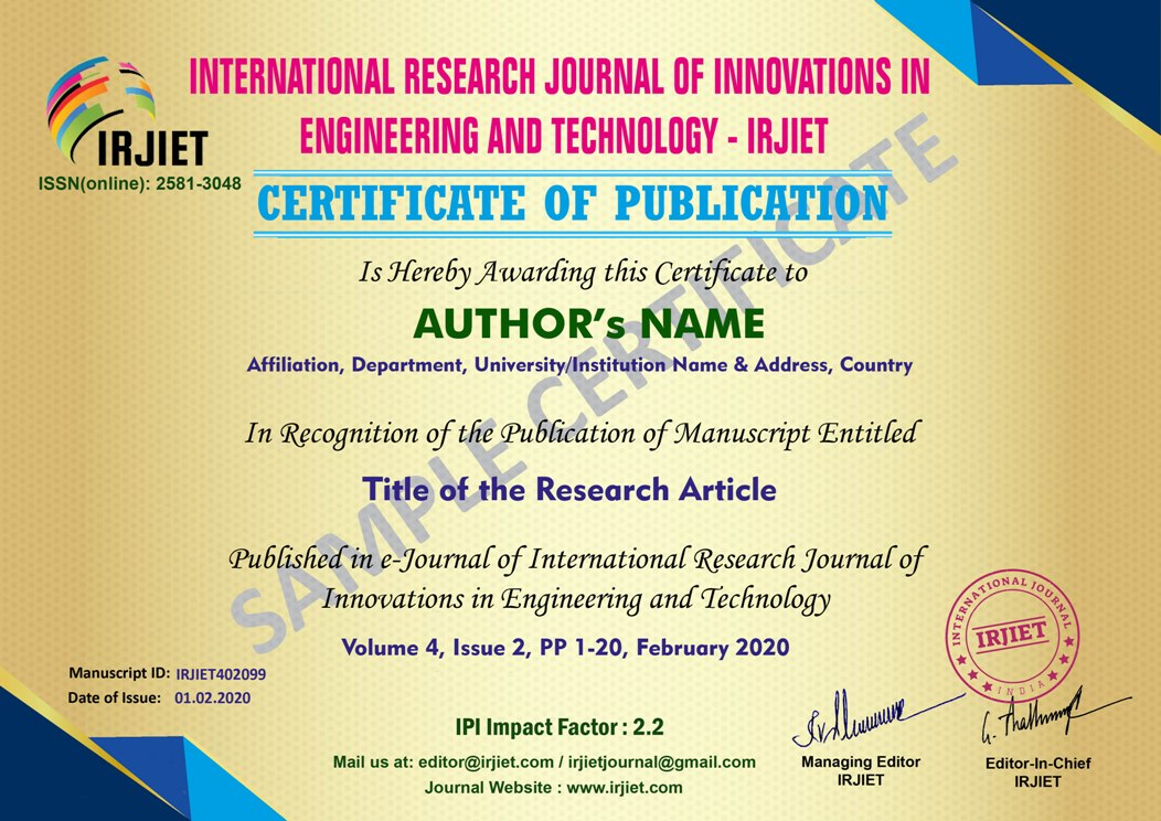 International Research Journal of Innovations Engineering